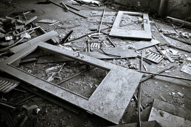 scraps of metal door